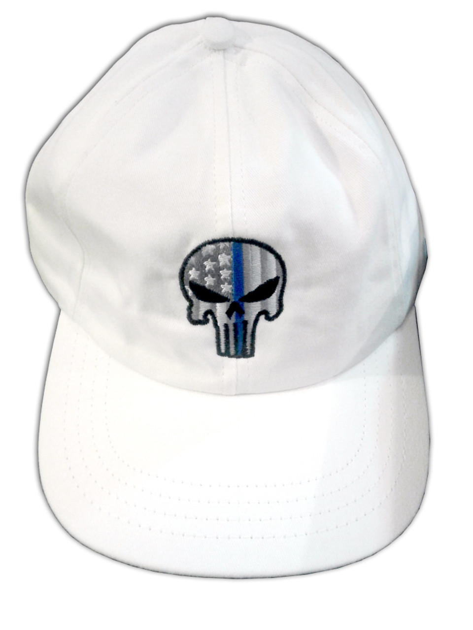 61c0f9ae061ff Thin Blue Line Skull Unstructured Hat (White)