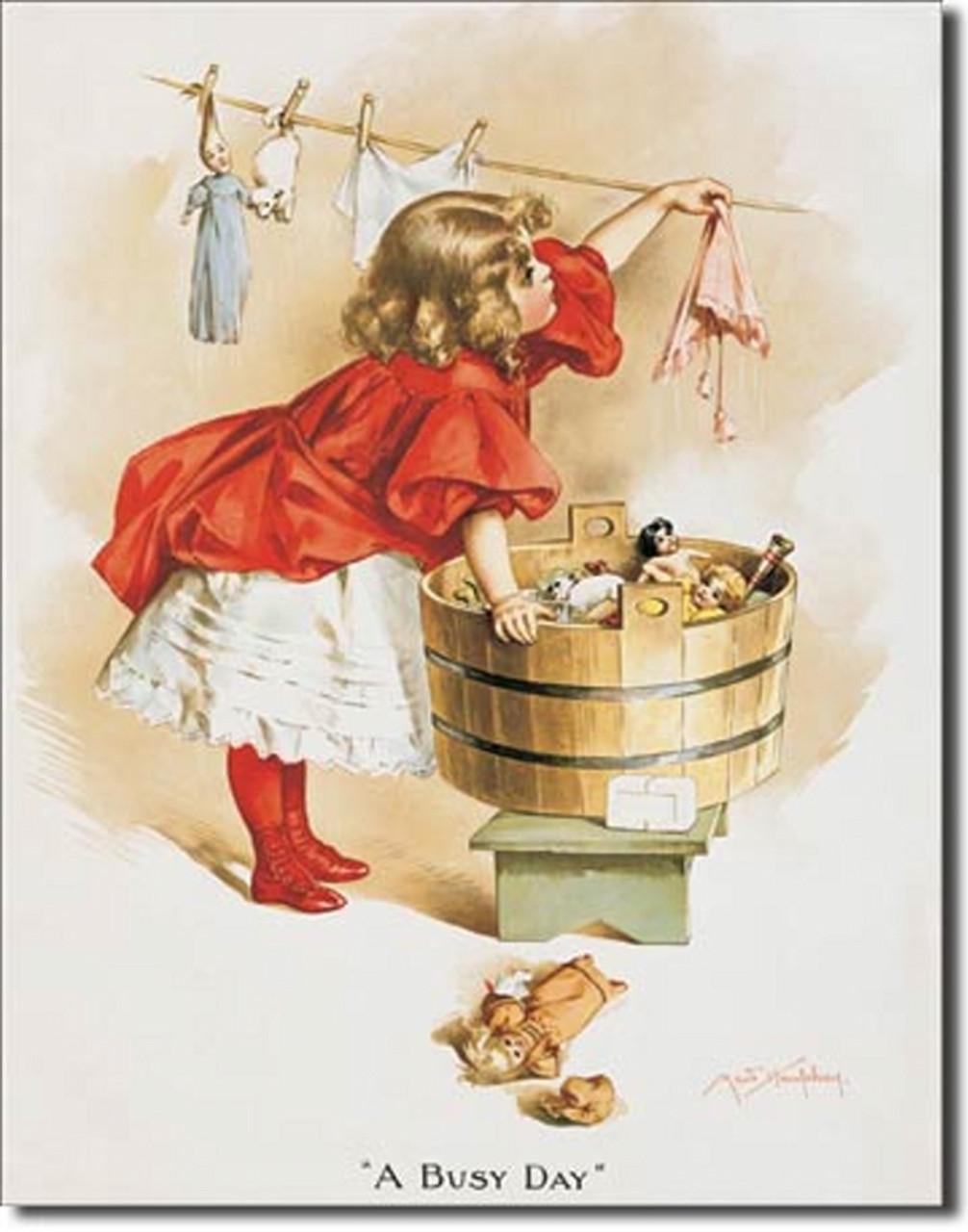 Ivory Soap Girl Washing Tin Sign (12 5