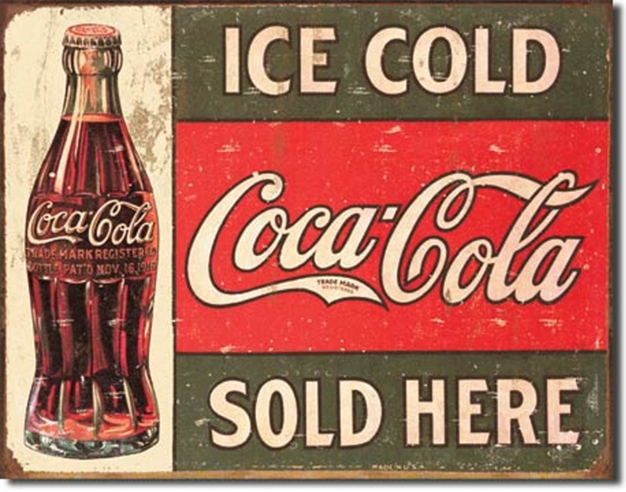 Coca Cola 1916 Ice Cold Metal Sign 16 X12 5
