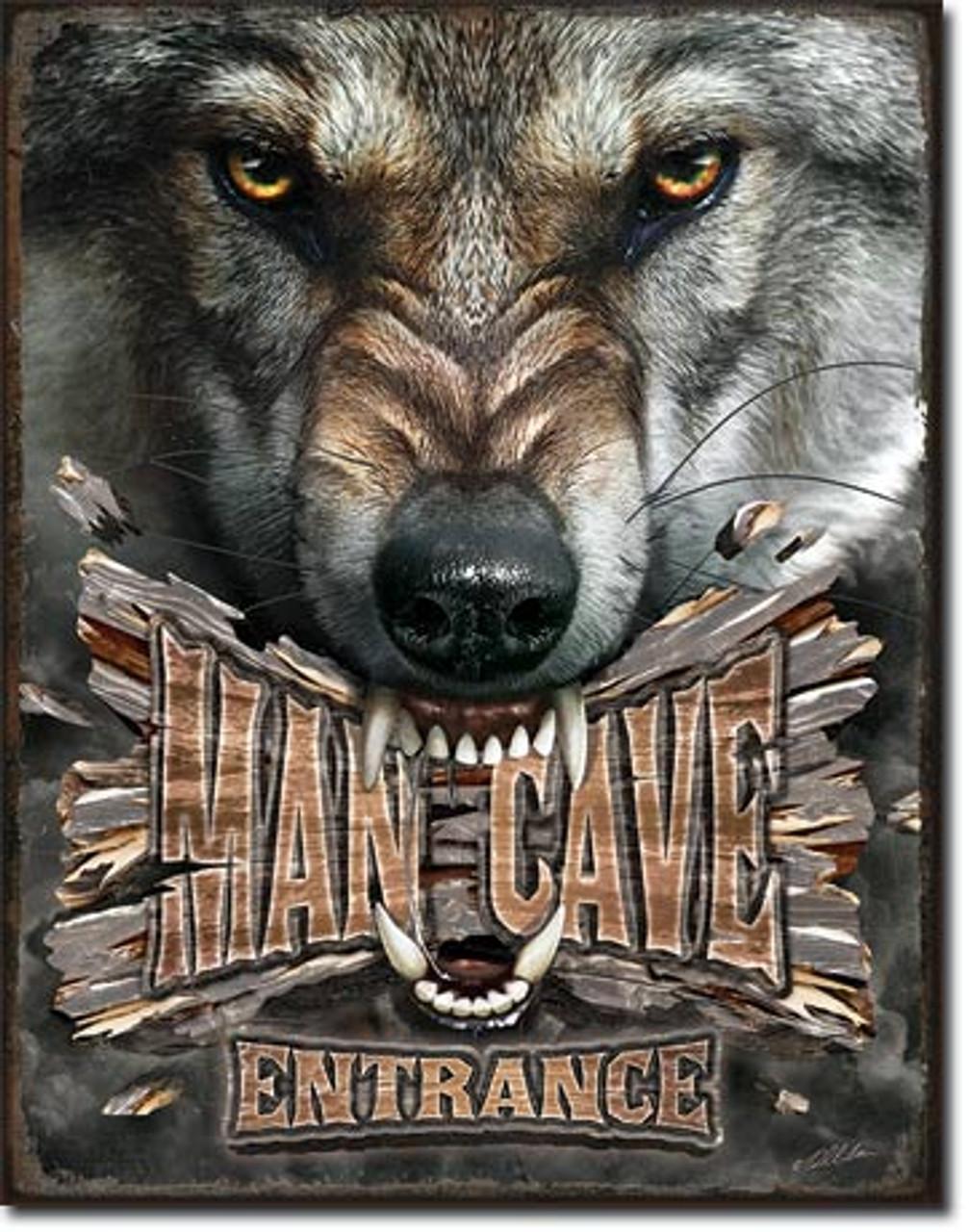 Man Cave Wolf Tin Sign (12 5