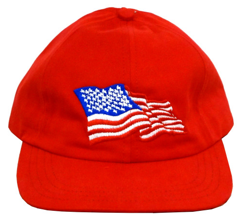 f1576f75 American Flag Baseball Cap (Unstructured, Red)