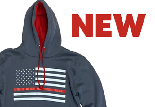 New Thin Red Line Flag Hoodies!