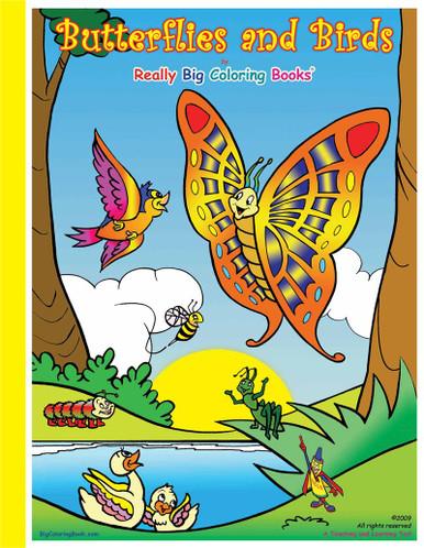 Butterflies & Birds Giant Coloring Book