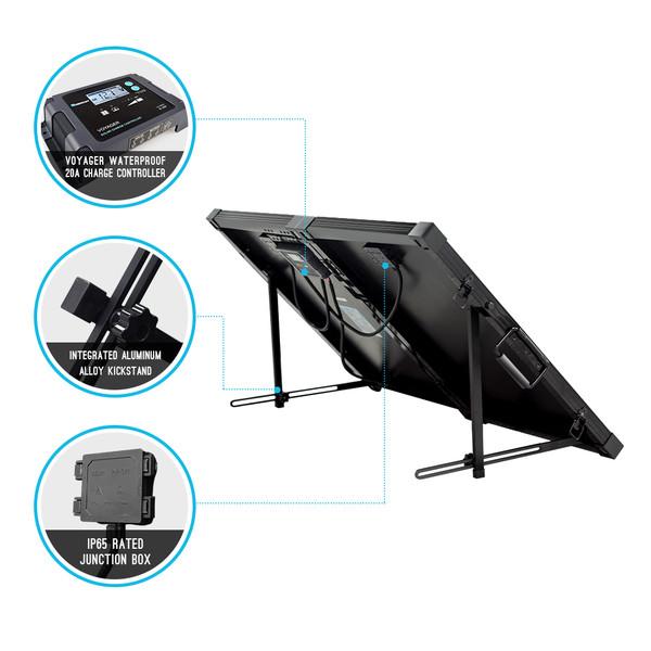 100 Watt 12 Volt Monocrystalline Foldable Solar Suitcase with Voyager