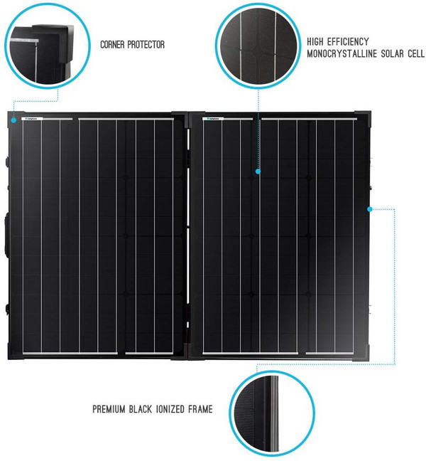 100 Watt 12 Volt Mono Foldable Portable Solar Suitcase with Voyager Waterproof Charge Controller