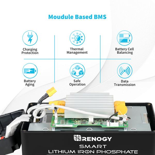 Renogy 12V 100Ah Smart Lithium Iron Phosphate Battery w/ Self-Heating Function