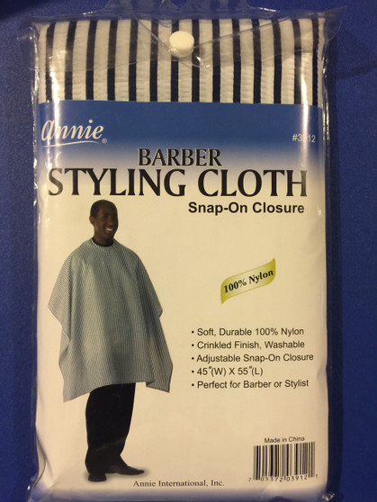 """Annie Barber Styling Cloth Snap On Closure 100 % NYLN 45""""X55"""" #3912"""