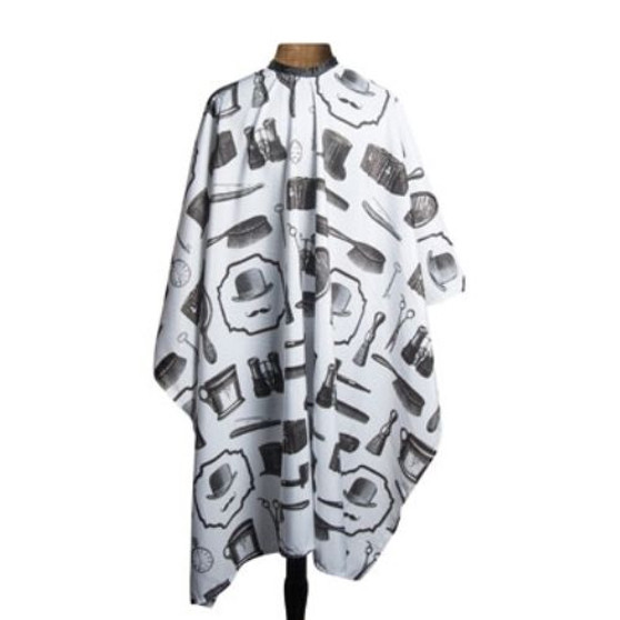 """1907 By Fromm Barber Cape Vintage Barber Tool Print  . 45"""" x 60"""" .  Lightweight polyester with vintage tool print . Water resistant treatment . Extra long adjustable snap closure"""
