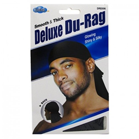 Dream Du-Rag Deluxe Smooth & Thick Black Glowing