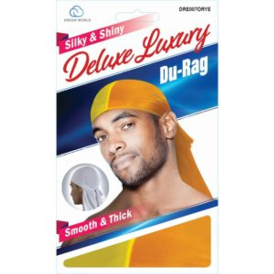 Dream Du-Rag Deluxe Smooth & Thick TWO TONE Orange and Yellow