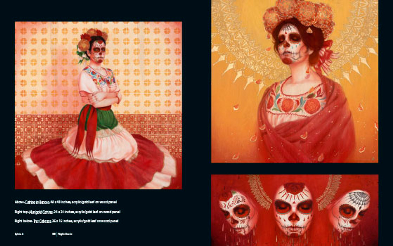 Day of The Dead and Other Works by Sylvia Ji. Catrina in Repose, Marigold Catrina and Tres Cabezas
