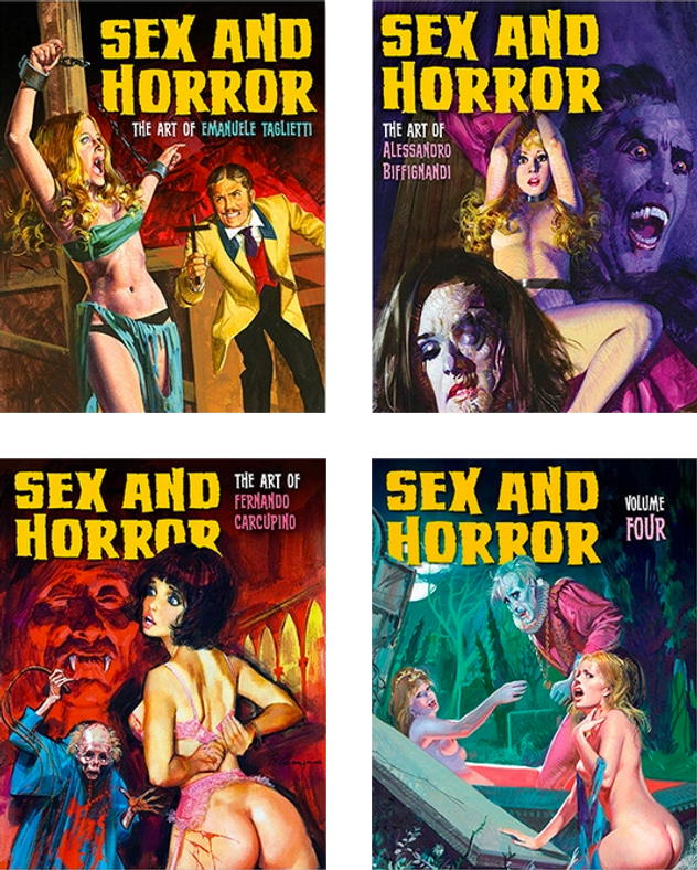 All four volumes of Sex and Horror by Korero Press