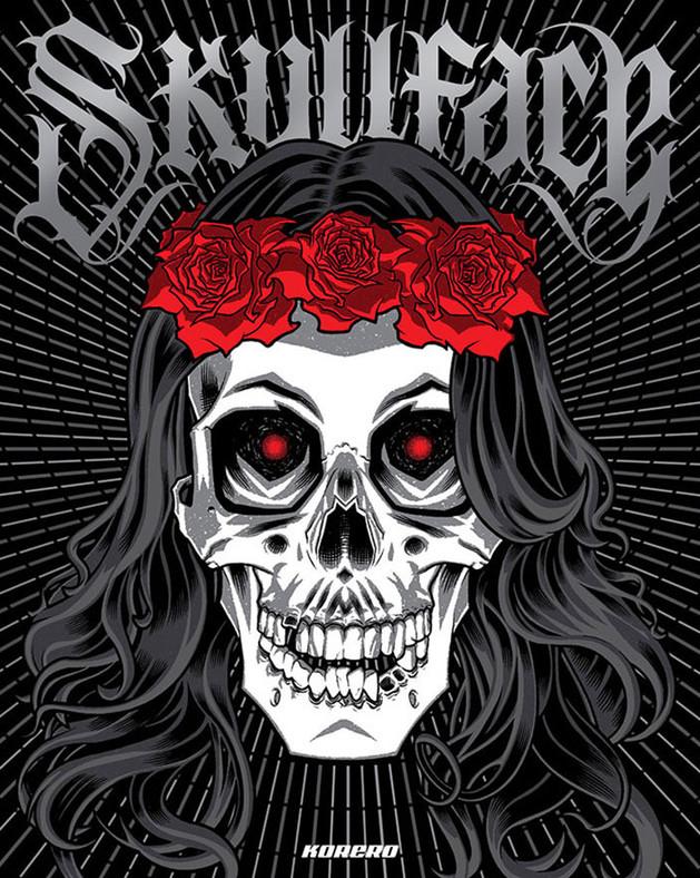 Skullface: cover illustration by Brian Ewing.  Skull artwork book.