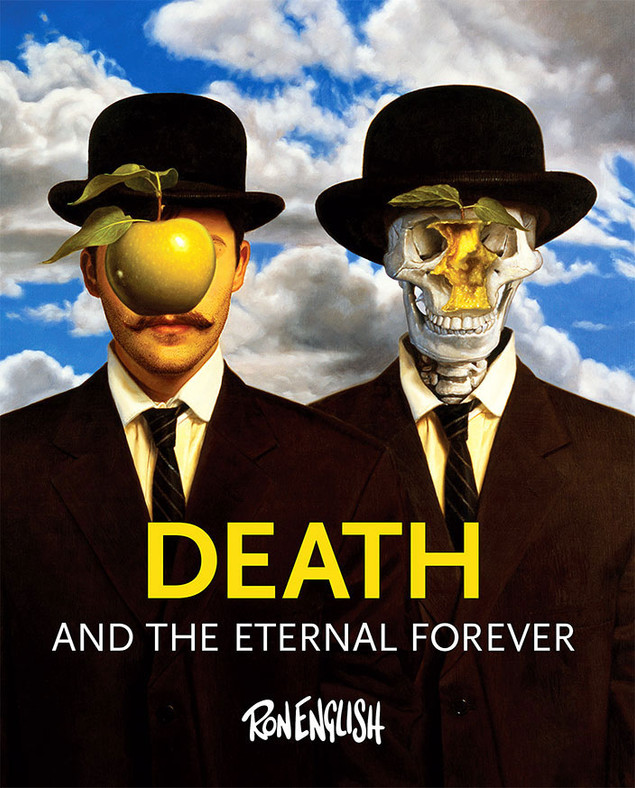 Death and Eternal Forever. Paintings by Ron English. Cover based on René Magritte's The Son of Man.