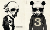 Skullface: Bobblehead and Panda No. 3 by Rhys Owen. Skull artwork.