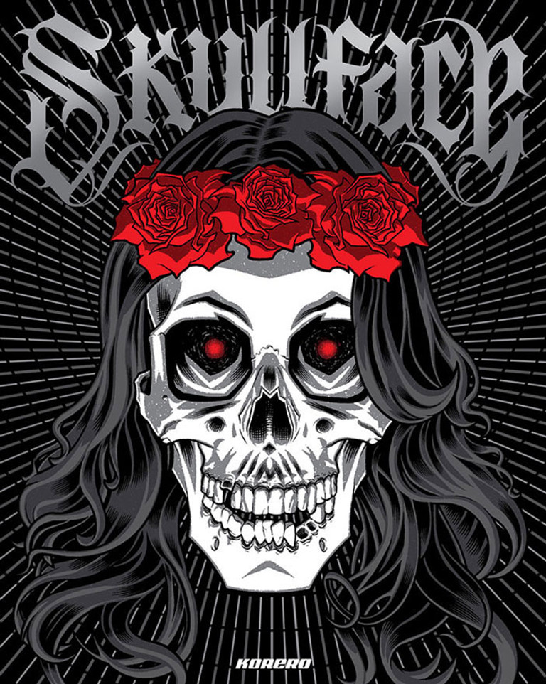 Skullface: cover illustration by Brian Ewing.  Skull artwork book.