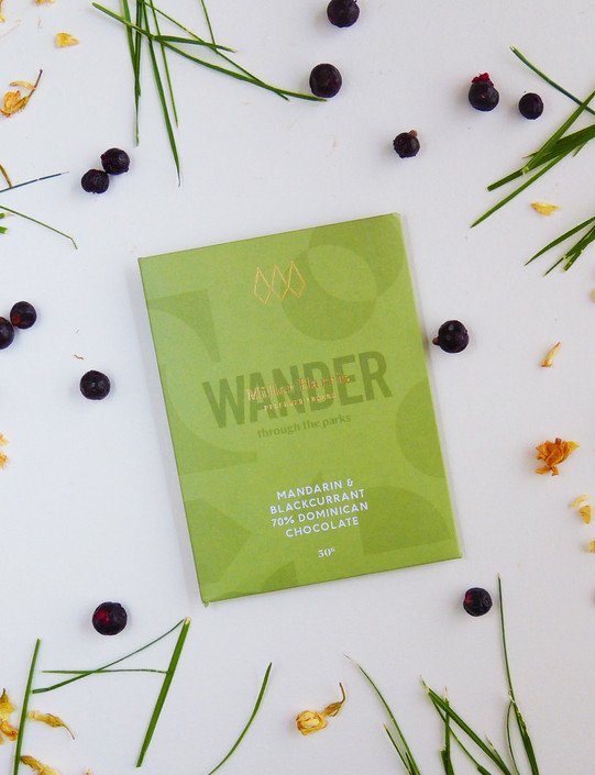 WANDER - Mandarin & Blackcurrant 70% Dominican Chocolate Bar 50g
