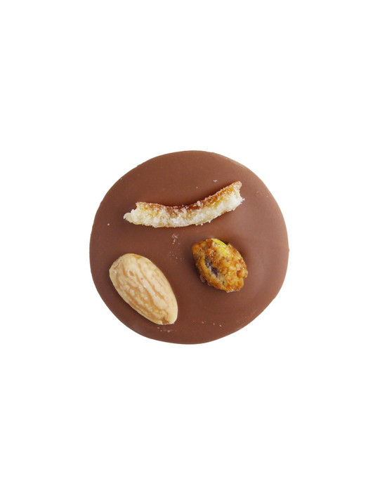 Caramelised Pistachio, Almond & Candied Orange Milk Chocolate Mendiants