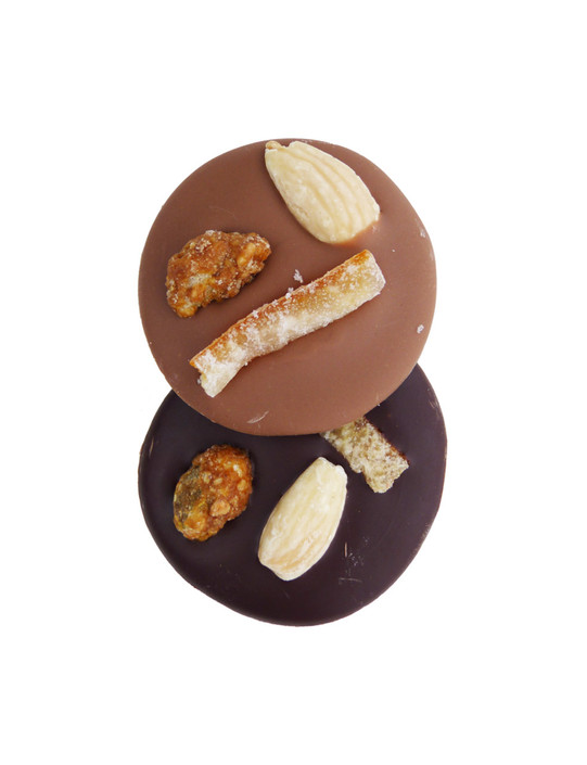 Caramelised Pistachio, Almond & Candied Orange Milk & Dark Chocolate Mendiants