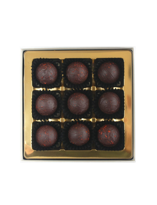 9 Dark Chocolate Passion Fruit & Wild Orange Water Ganaches