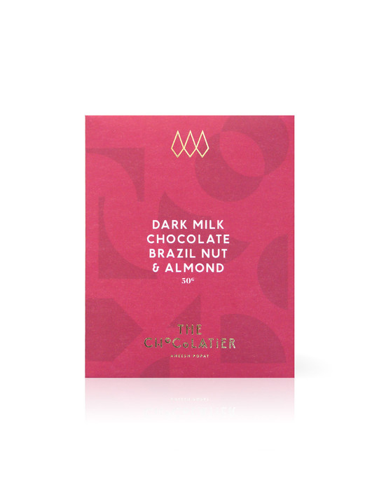 Brazil Nut & Almond Dark Milk Chocolate Bar 50g