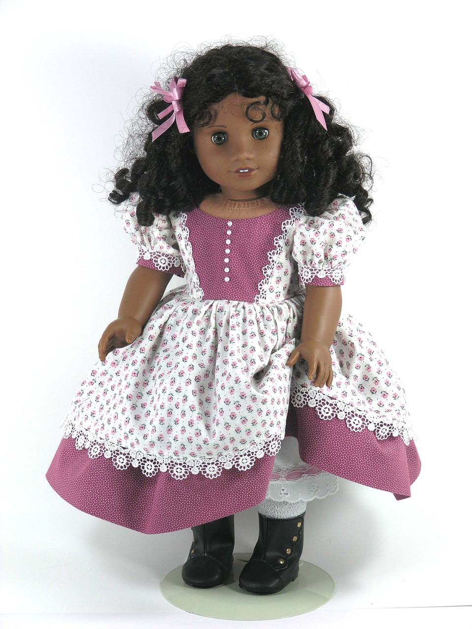 Handmade 1850s American Girl Cecile Historical Doll Dress - Rosey Mauve