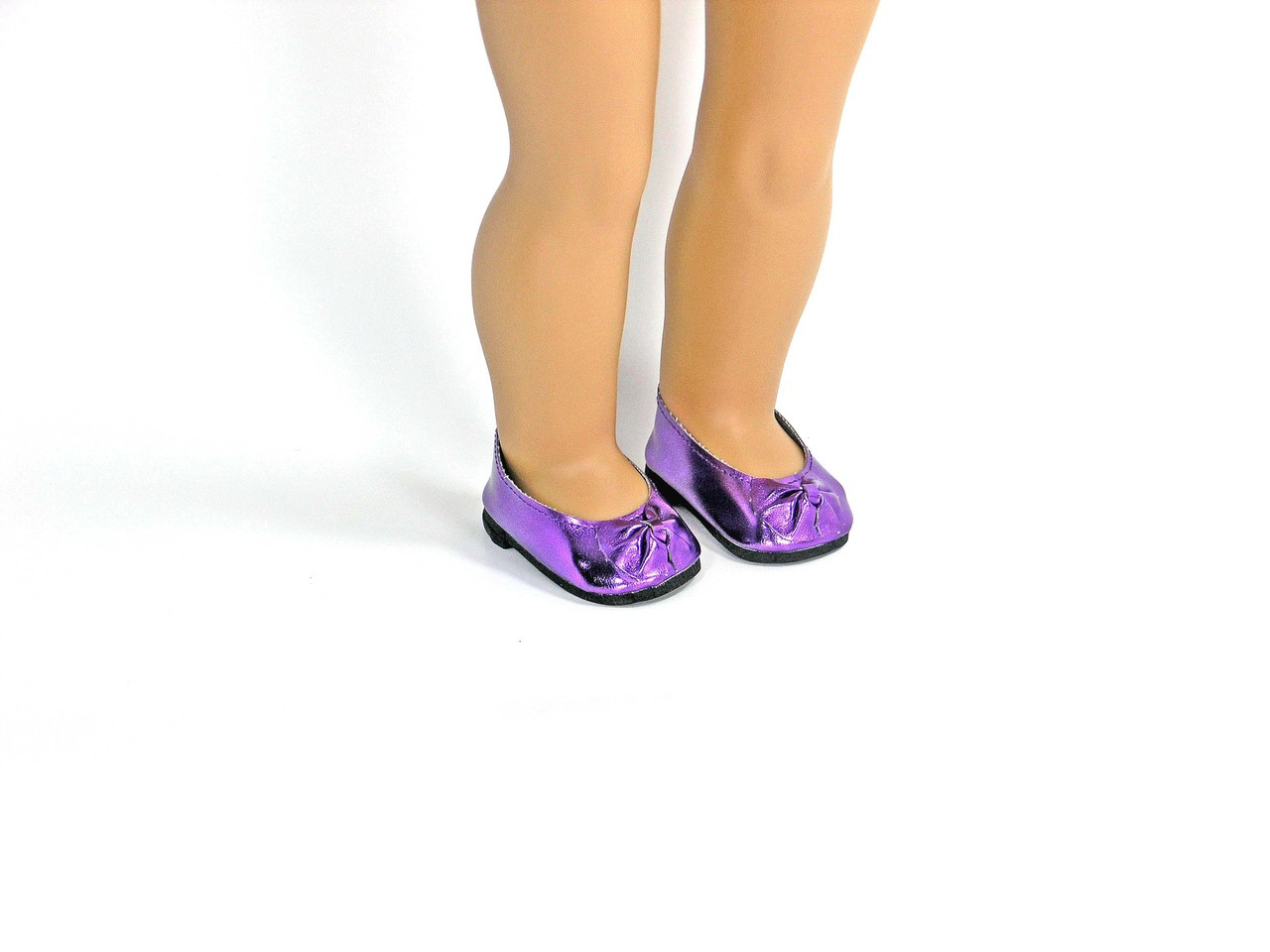 203cadd17f6b8 Shiny Purple Slip On Doll Shoes with Bow Fit American Girl