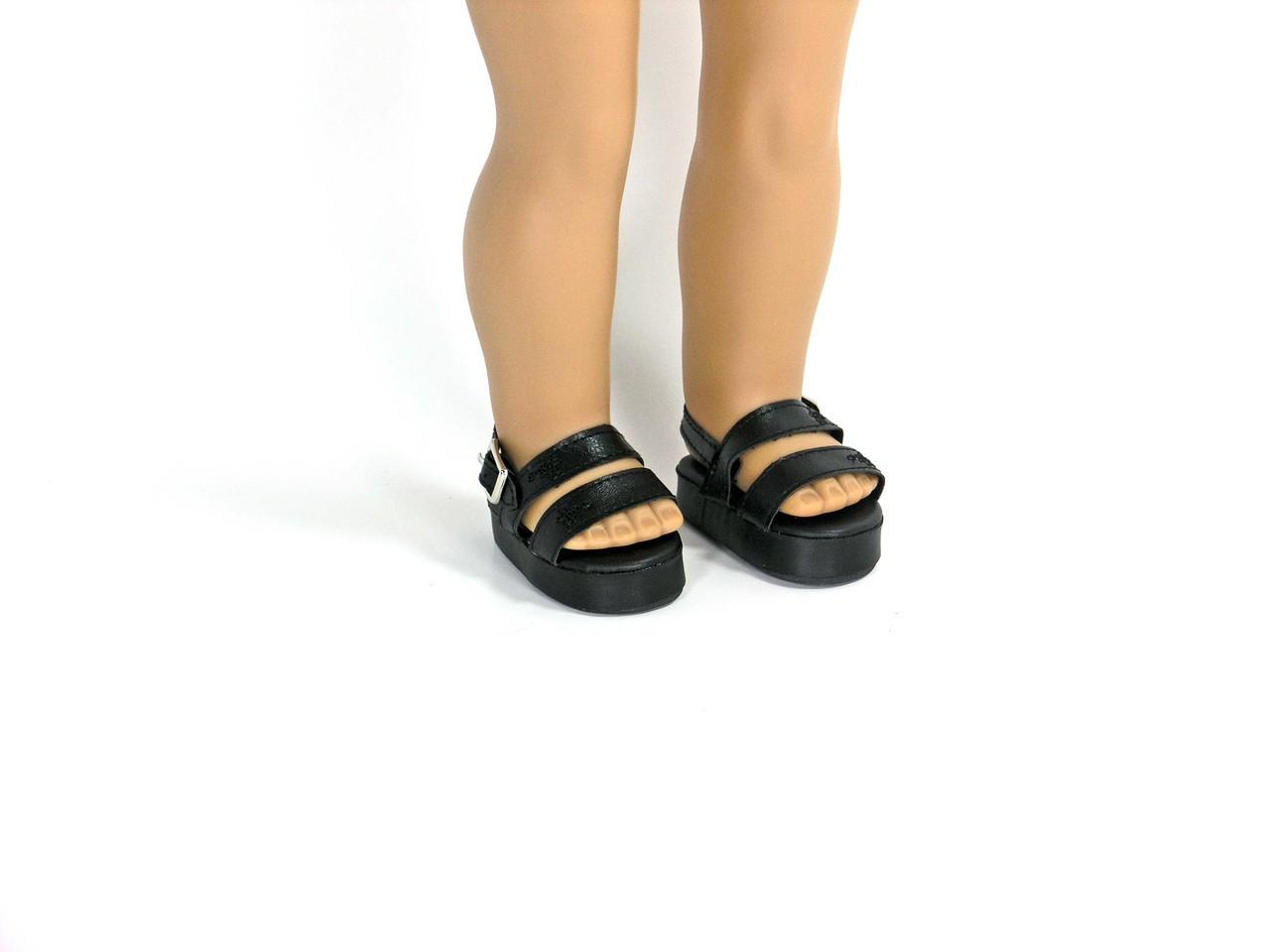 73718b3b4d6f4 Black Platform Sandals fit 18 inch American Girl, Madame Alexander Dolls