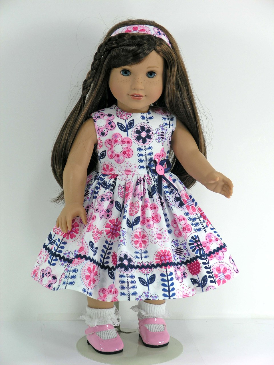 White Pink Brown Navy Flower Mary Janes Dress Shoes fit American Girl Size Doll