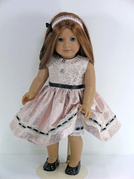 08ddf4d11b77 Handmade Clothes for 18 inch American Doll - Dress, Headband, Pantaloons -  Ivory Lace, Rose Gold Sparkle