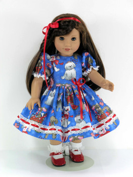 a54a9730d053 18 inch Doll Clothes Handmade for American Girl - Patriotic Dress,  Pantaloons, Hair Ribbon - Sparkle Puppies