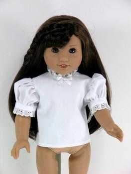 3686b149bc909 Handmade 18 inch Short Sleeve Doll Blouse, Shirt for American Girl - White  with Eyelet