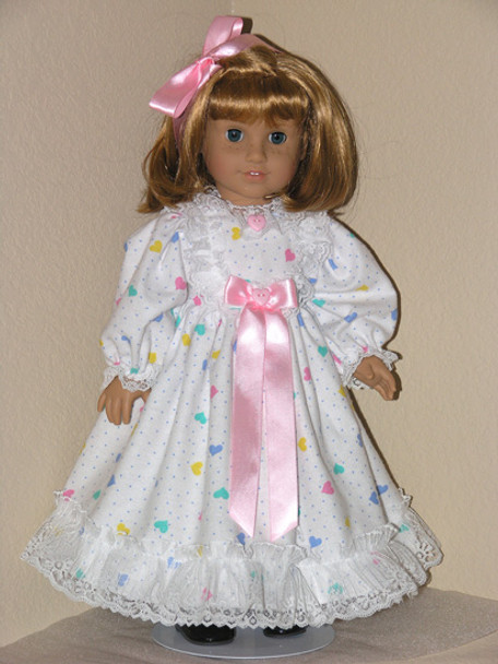 FLANNEL NIGHTGOWN HEARTS Pajamas American Girl Doll Clothes