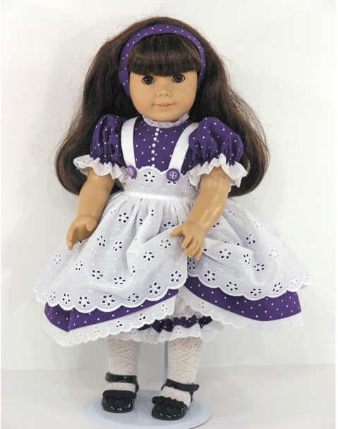 Purple Dress Pinafore Clothes for 18 inch American Girl Dolls