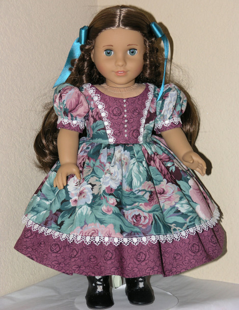 Handmade 1850s American Girl Cecile18 inch Doll Dress Blue Green