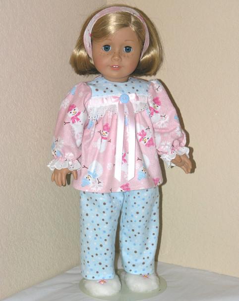 American Girl Handmade 18 inch Doll Pajamas SPARKLE Blue Snowman