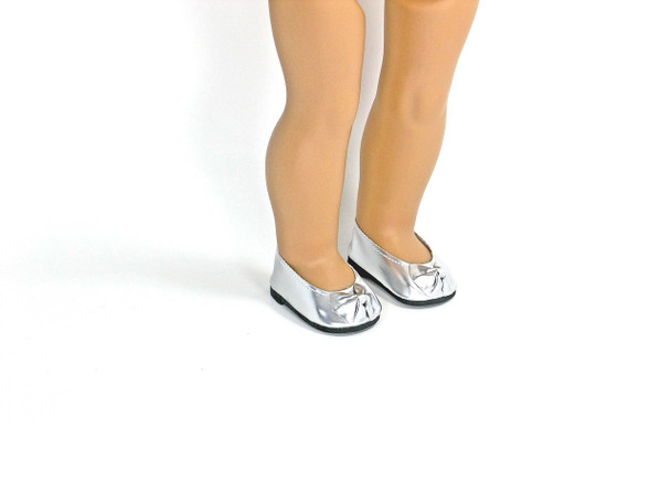 Shiny Silver 18 inch Shoes with Bow Fit American Girl Doll