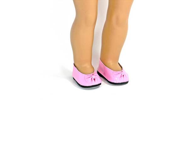 Pink Patent Doll Shoes with Bow for 18 inch American Girl