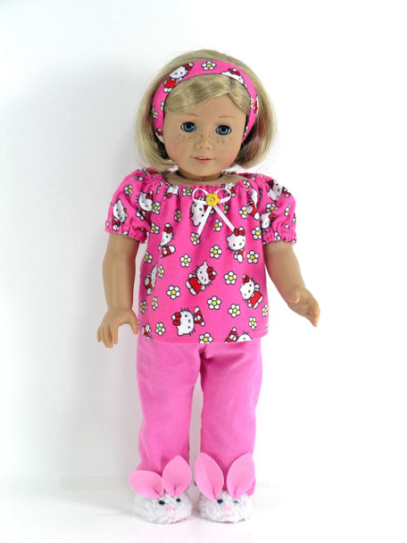 20b484b1b Pajamas Handmade for 18 inch American Girl Doll - Pink Kitty Flannel ...
