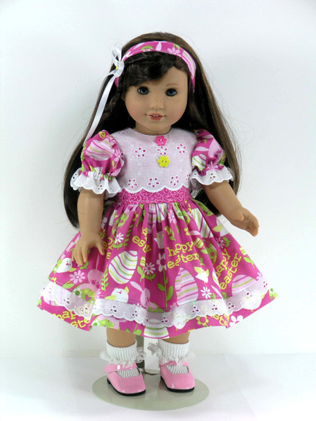 18 inch Doll Clothes Handmade for American Girl - Dress, Headband, Bloomers - Easter Bunnies