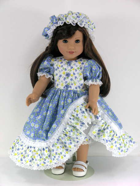 Doll Clothes Handmade for 18 inch American Girl - Dress, Mob Cap, Pantaloons - Blue, Yellow Floral