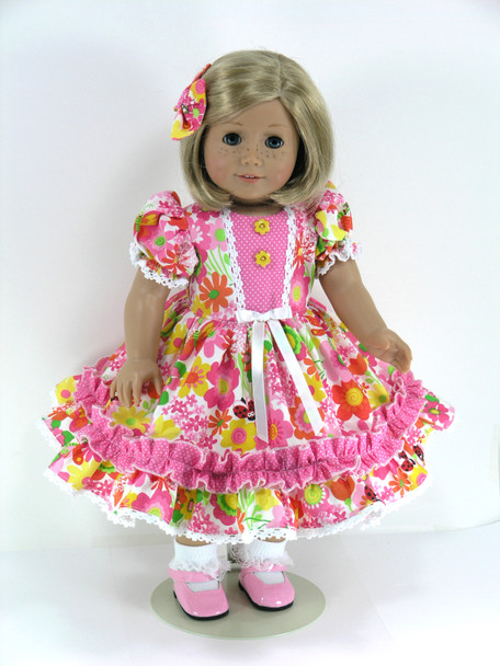 Doll Clothes Handmade for 18 inch American Girl - Dress, Pantaloons, Hair Bow - Pink, Yellow Flowers; Pink Dot