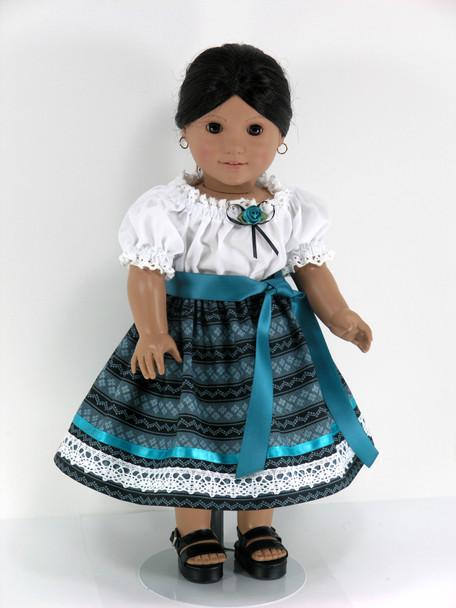 Handmade Doll Clothes fit American Girl Josefina - Skirt, Blouse, Pantaloons - Turquoise, Black