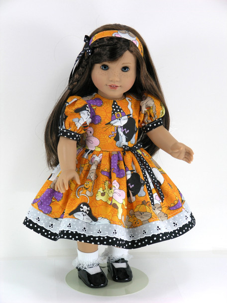 Halloween Doll Clothes Handmade for 18 inch American Girl - Dress, Pantaloons, Headband - Orange Cats, Kittens