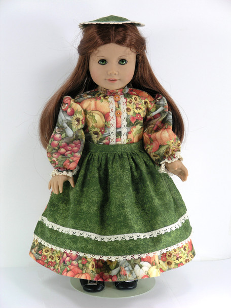 Doll Clothes Handmade for 18 inch American Girl Felicity - Dress, Apron, Pinner Cap, Pantaloons - Fall Colors