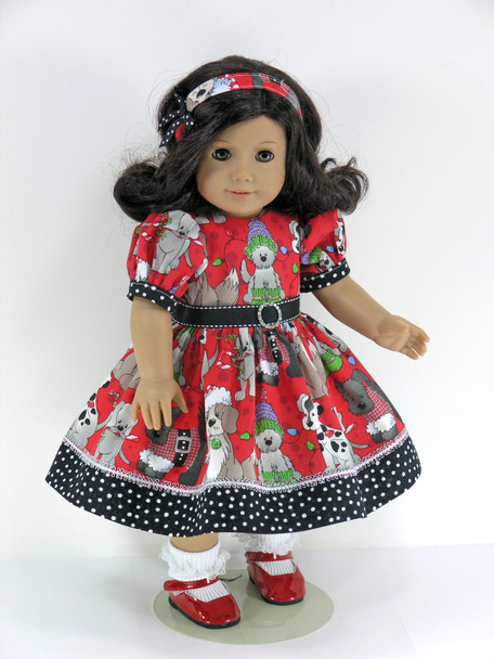 Handmade Christmas Doll Clothes for 18 inch American Girl - Dress, Pantaloons, Headband - Red, Black Sparkle Puppies