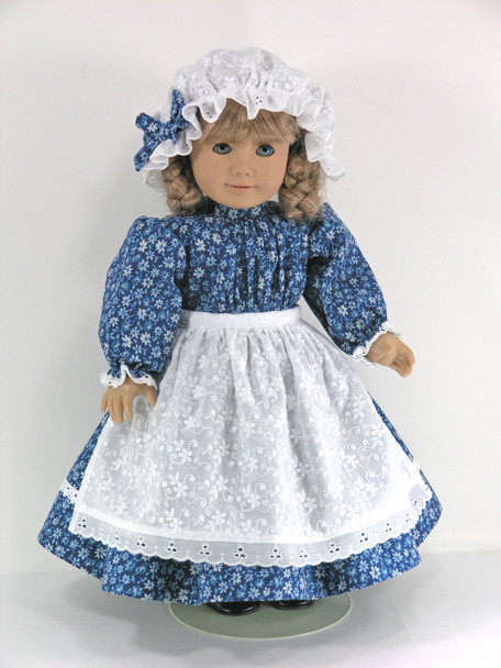 Handmade 1854 Prairie Doll Dress, Apron, Mob Cap, Pantaloons for American Girl Kirsten - Blue Floral, Eyelet