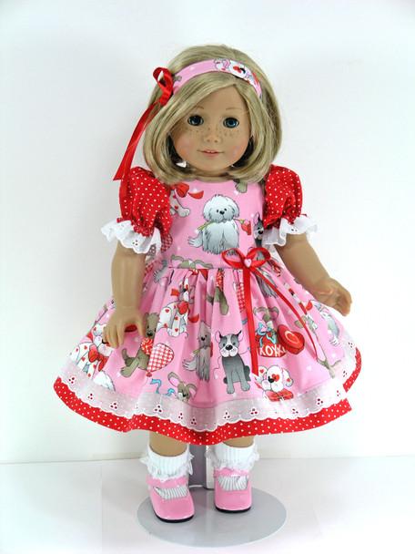 Doll Clothes Handmade for 18 inch American Girl - Dress, Pantaloons, Headband - Puppies, Hearts, Dots