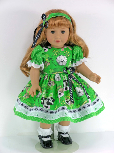18 inch Handmade Clothes for 18 inch American Girl Doll - Dress, Pantaloons, Headband - Puppies, Shamrocks