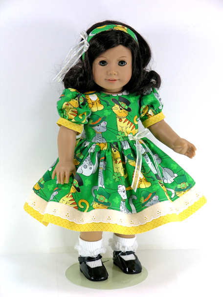 Handmade 18 inch Clothes for 18 inch American Girl Doll - Dress, Pantaloons, Headband - Sparkle Cats, Shamrocks